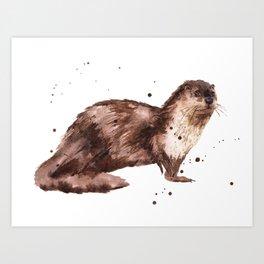Otter, otter painting, watercolor, animal art Art Print