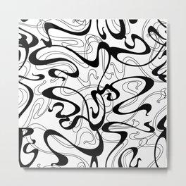 Black Swirl Retro Graffiti Print Metal Print