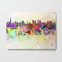 Tel Aviv skyline in watercolor background Metal Print