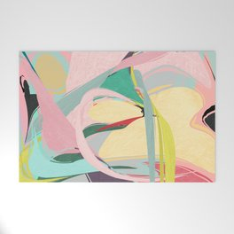 Shapes and Layers no.23 - Abstract Draper pink, green, blue, yellow Welcome Mat
