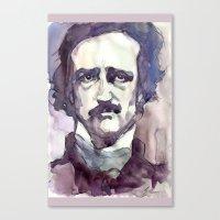 edgar allan poe Canvas Prints featuring Edgar Allan Poe by Germania Marquez