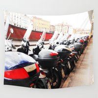 motorcycle Wall Tapestries featuring Red Motorcycle by Tali Cohen
