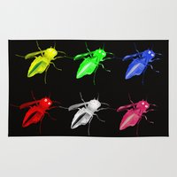 insects Area & Throw Rugs featuring Neon insects by LoRo  Art & Pictures