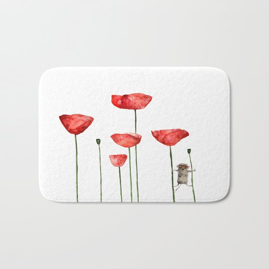 Mouse and poppies - Watercolor illustration Animal + Poppy Flower #Society6 Bath Mat