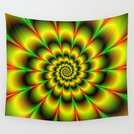 Spiral Rosette in Yellow Green and Red Wall Tapestry