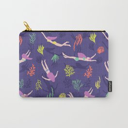 Swimming in the coral reef, seaweed, bikini swimmer, mermaids Carry-All Pouch