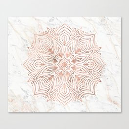 Mandala Rose Gold Quartz on Marble Canvas Print