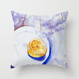 Lemon on a plate - Watercolors Throw Pillow