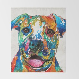 Colorful Dog Pit Bull Art - Happy - By Sharon Cummings Throw Blanket
