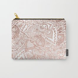 Chic hand drawn rose gold floral mandala pattern Carry-All Pouch