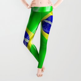 Brazil Flag Waving Silk Fabric Leggings