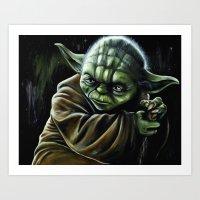 jedi Art Prints featuring Jedi Master by Pinked n Inked
