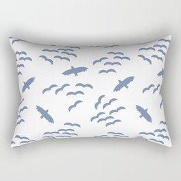 Silhouettes of flying birds. Bird silhouettes blue on a white background. Flock of birds. Swarm of birds. Eagle. Seahawk. Rectangular Pillow