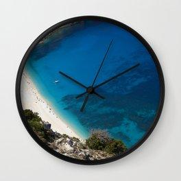 "Travel Photography ""Myrtos Beach on Greek island Kefalonia, Greece""   White sand, blue sea. . Wall Clock"