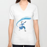 airbender V-neck T-shirts featuring Katara by JHTY