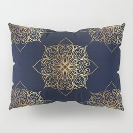 Gold and Navy Damask Pillow Sham