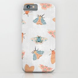 Moth Pattern - Pastels - White iPhone Case