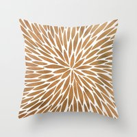 rose gold Throw Pillows featuring Rose Gold Burst by Cat Coquillette