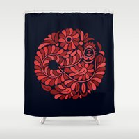 folk Shower Curtains featuring Folk Rooster by slovensky