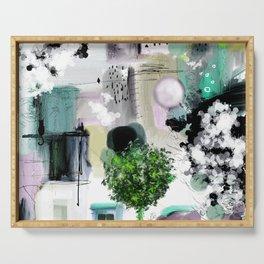 Peinture digitale maison arbres chat oiseau bulles Serving Tray