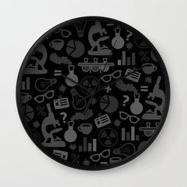 Grey and Black Science Pattern Wall Clock