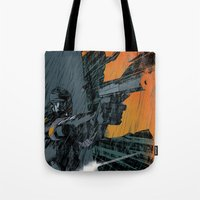metal gear Tote Bags featuring METAL GEAR Ground Zeroes by Toni Infante