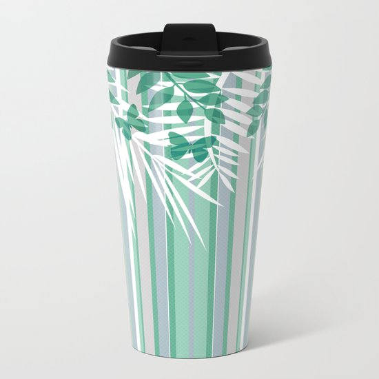 Multi-colored striped pattern with green tones . Metal Travel Mug