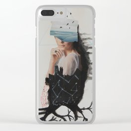 sea,costellation,tree Clear iPhone Case