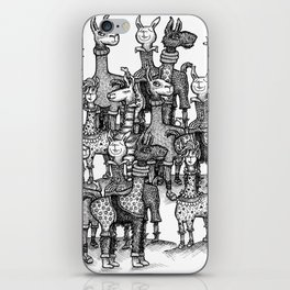 A Crowd of Llamas in Pajamas by dotsofpaint iPhone Skin