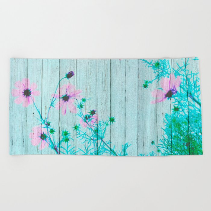 Sweet Flowers on Wood 03 Beach Towel