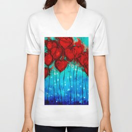 Hearts On Fire - Romantic Art By Sharon Cummings Unisex V-Neck