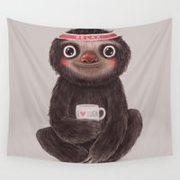 sloth Wall Tapestries featuring Sloth I♥yoga by Lime