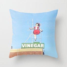 Skipping girl vinegar sign Throw Pillow