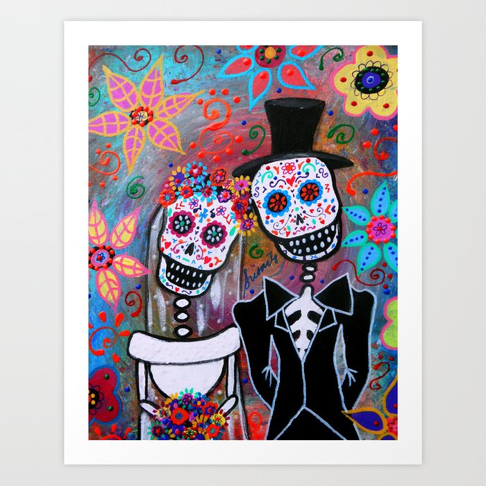 Day Of The Dead Wedding Love Painting Magician Magic Art Print