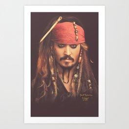 Jack Sparrow Digital Painting Art Print