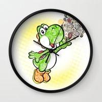 yoshi Wall Clocks featuring Yoshi Wonderland !  by Art & Be