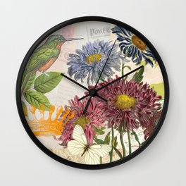 Dahlia Flowers with a Bird and a Crown Wall Clock