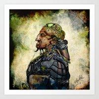 military Art Prints featuring Military Cyborg by April Gann