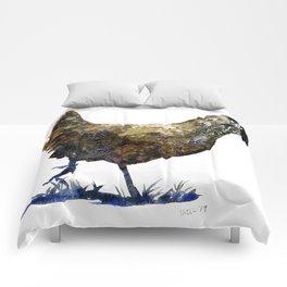 Ameraucana Hen in Stride - Chicken watercolor Painting Comforters