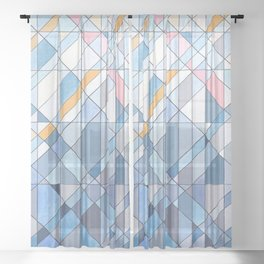 Triangle Pattern no.17 Light Blues Sheer Curtain