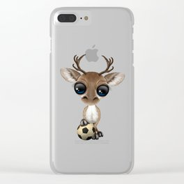 Cute Baby Reindeer With Football Soccer Ball Clear iPhone Case