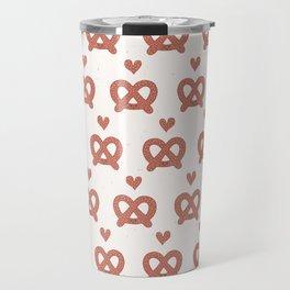Cute vector pretzel cartoon with smiling face Travel Mug