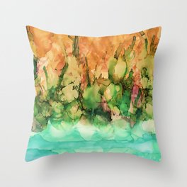 Tropical Riverside Throw Pillow