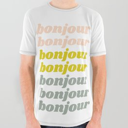 Bonjour in Pretty Pastels All Over Graphic Tee