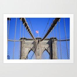 American Flag at the Brooklyn Bridge Art Print