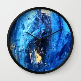 Vortex: a vibrant, blue and gold abstract mixed-media piece Wall Clock