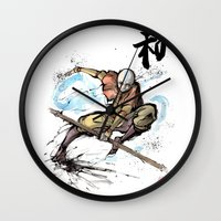 the last airbender Wall Clocks featuring Aang from Avatar the Last Airbender sumi/watercolor by mycks