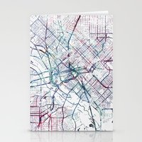 dallas Stationery Cards featuring Dallas map by MapMapMaps.Watercolors