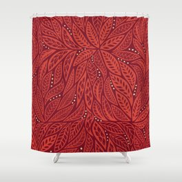 Polynesian Tribal Tattoo Red Floral Design Shower Curtain