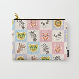 funny animals muzzle owl panda giraffe lion zebra leopard pattern with pink lilac Carry-All Pouch